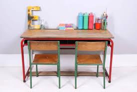Desk : Desk Furniture Childrens Vintage Double Desk With Red Metal .