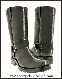 mens black stingray leather biker motorcycle western boots