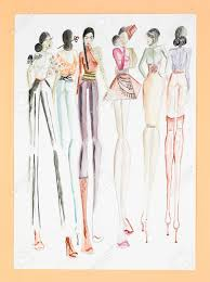 Hand Drawn Sketch Of Fashion Models In Colored Haute Couture