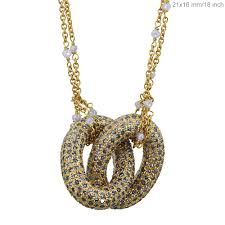details about pave 6 78 ct diamond double ring pendant necklace solid 18k yellow gold fine cy