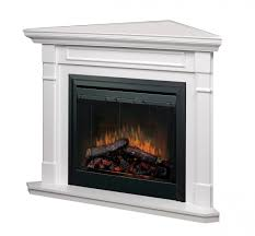 image of corner electric fireplace with mantel