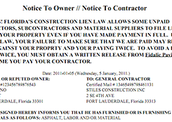 notice to owner form florida notice to owner do it yourself lien release