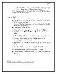 Cv For Pcn Ndt Inspector Ut3 1 3 2 3 9 Mt Pt