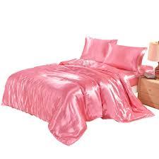 kiss queen 3 duvet cover set satin silk bedding set with duvet cover pillowcases pink black white blue purple gray golden lime green bedding duvets covers