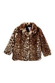 image of design history leopard print faux fur coat toddler little girls
