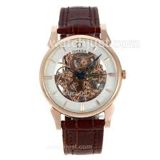 best luxury replica omega skeleton watches for men women omega skeleton automatic rose gold case leather strap