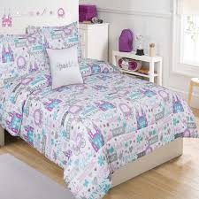 trendy purple blue and white city themed bedding set for toddler idea