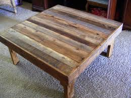 image of rustic wood coffee table with wheels