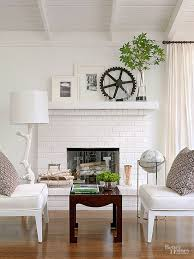 painted brick stone fireplace inspiration