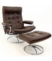 ekornes stressless reclining swivel brown leather mid century modern lounge chair ottoman
