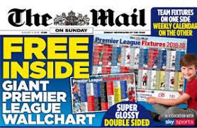 Details About Mail On Sunday Premier Football League 2018 19 Wall Chart Calendar New Season