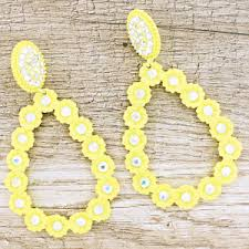 quick view earring 1381 18 trere crystal fl teardrop neon yellow clear ab