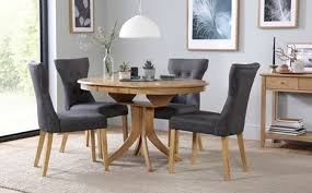 hudson round extending dining table 4 chairs set bewley slate