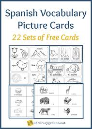 vocab cards with pictures spanish vocabulary picture cards by theme spanish playground