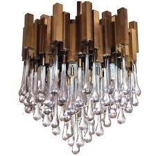 brass chandelier with teardrop glass by gaetano sciolari