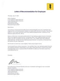 letter of remendation for employee