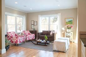 Imposing Beige Walls Also Comforting Living Room Color Scheme With Floral  Armchair Sofa Set In Brown