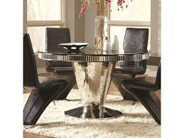 coaster barzini round dining table with red black gl top