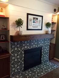 plank wall fireplace modern rustic fireplace encaustic cement look ceramic tile merola twenties