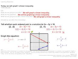 1 algebra i 6 0 students graph a linear equation