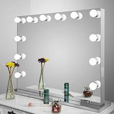 aoleen frameless vanity mirror with light hollywood makeup lighted dimmer free bulbs gift lighted mirror m35 lighted