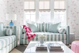 turquoise blue and pink living room with gray scalloped roman shades pertaining to striped sofa idea 14