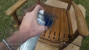 spray painting a er barrel rocking chair