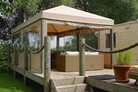 a decking seating area under a gazebo