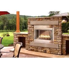 brick natural gas outdoor fireplace