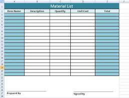 Construction Material List Template Get Material List Template In Excel Excel Project Management