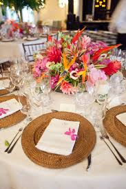 Bold Tropical Floral Reception Table Centerpiece