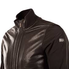 armani jeans black leather two texture er jacket