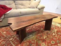 liveedge walnut coffee table with c inlay