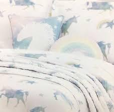 5pc unicorn rainbow twin set comforter