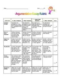 Argumentative Essay Rubric Worksheets Teachers Pay Teachers