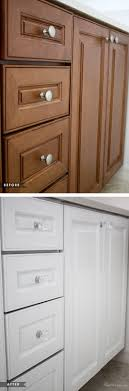 painted brown kitchen cabinets before and after. How To Paint Cabinets Without Removing Doors Using One Can - Before And After Painted Brown Kitchen