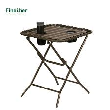 folding side table folding side table with mesh drink holders for patio garden picnics beach camping folding side table