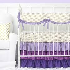 Purple and Gold Dot Ruffle Crib Bedding Set ...