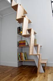Interior: Unique And Creative Stair Design That Feature Space Saving Ideas,  Unique Shaped Wooden Loft Staircase With Book Shelves Beneath It