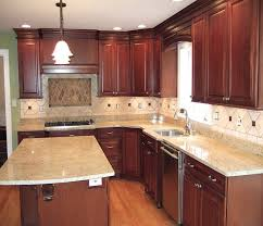 kitchen brown wooden kitchen island with cream marble counter top placed on the brown wooden
