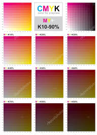 Yellow Cmyk Color Chart Cmyk Color Swatch Chart Magenta And Yellow Stock Vector
