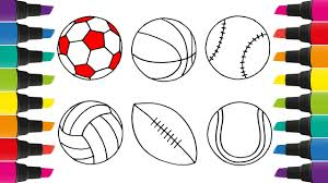 How to Draw a Set of Sports Balls Coloring Pages for Kids to ...