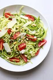 no cook pesto zucchini noodle salad