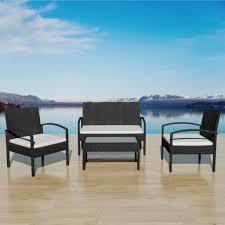 2 Sitzer Teetisch Poly Gartenbank Teetisch Außenbank Rattan