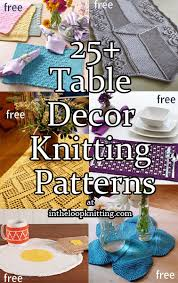 knitting patterns for table decor including placemats table runners napkin rings coasters and