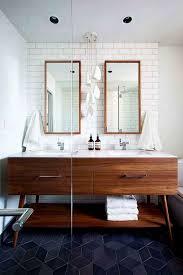 mid century modern bathroom vanity. Cool Mid Century Modern Bathroom With Dark Colored Floor Tiles Using Stylish Vanity Design I