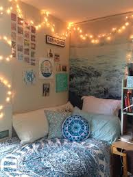 cool dorm lighting. Tapestry From Amazon On Bed With Wallpaper Matching Blue Feature Wall. Fairy Lights Hung Around Cool Dorm Lighting