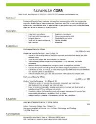 Wonderful Security Resume Templates Private Duties Cover Letter