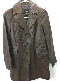 a n a women s size small leather jacket trench coat style brown x20