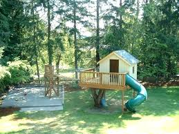 kids tree houses with slides. Treehouse For Small Backyard Outdoor Simple Tree House Ideas With Slides Kids Houses